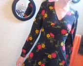 vintage 1970s Black Floral Mini Dress
