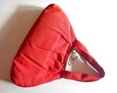 vintage 1940s Cherry Red Gabardine Handbag Geo Shaped Ring Clasp