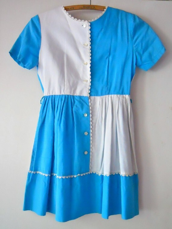 vintage 1960s Colorblock Turquoise White Cotton Summer Dress 6