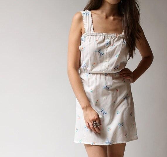 Vintage 60s It's a Breeze White Bow Sun Dress