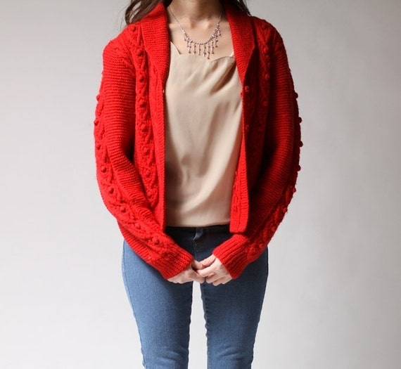 Vintage 70s MAKENZIE Red Cable Knit Cardigan (s - m)