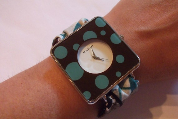 Modern Boutique Cuff Wrist Watch Winter Fashion - Brown and Turquoise Dots