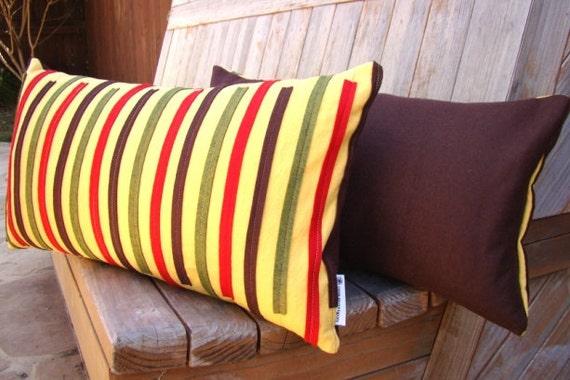 Re-Purposed Skinny Felt Striped Pillow on Bright Yellow Organic Cotton 12x20