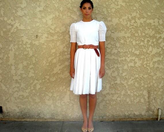 vintage white eyelet sleeve day dress
