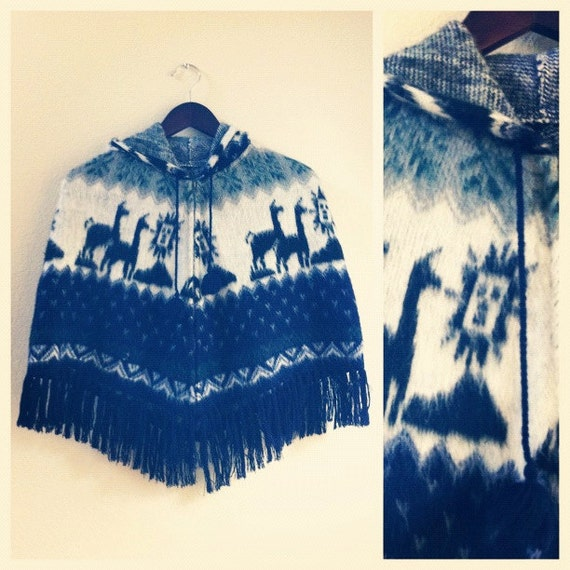 SALE // alpaca sweater poncho // for young girl or boy