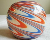 Psychedelic 1960s Art Deco Hand Blown Glass Bowl or Vase