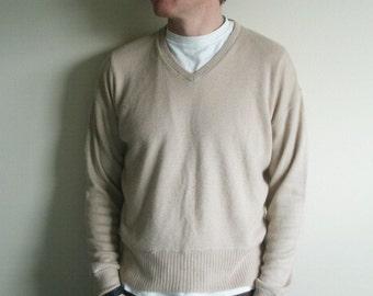 Vintage V Neck Beige Grampa Sweater