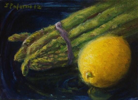 Lemon Asparagus Fruit Vegetable Stil Life Oil