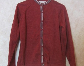 1950 60s Red Button Up Cardigan