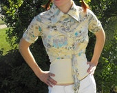 Yellow Print Blouse Top Floral Print Retro Cropped Shirt XS S Nylon Vintage