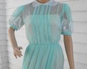 Vintage Dress Costume Aqua Seafoam S