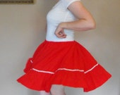Vintage Red Skirt Dance Dancing Country M L