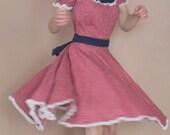 Vintage Dancing Dress Square Dance Full Skirt Floral Pink Blue M