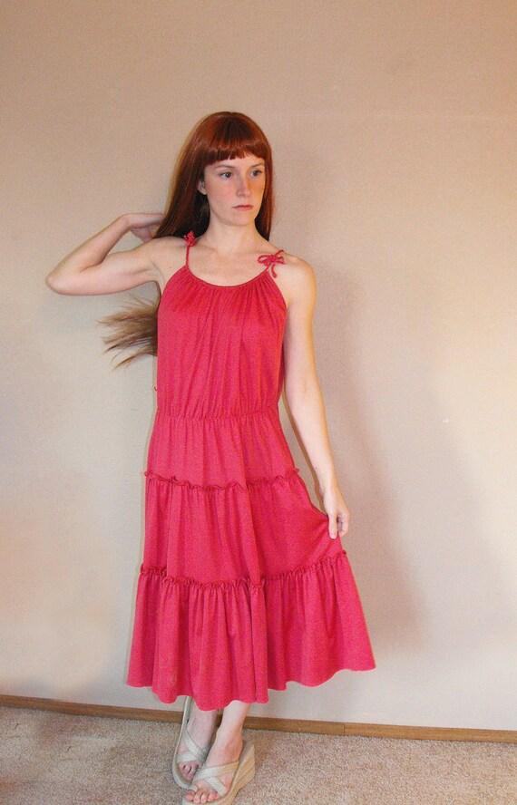 Vintage 70s Summer Dress Pink Grecian S M