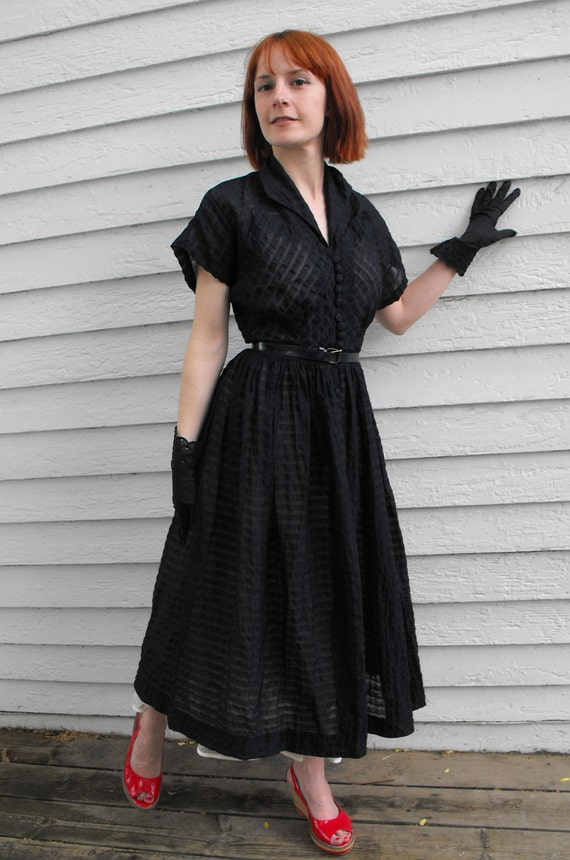 50s Dark Blue Dress Sheer Rockabilly Vintage 1950s XS Plissé Striped