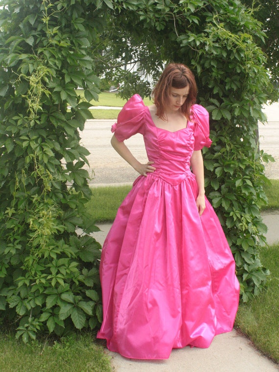 Vintage 80s Pink Gown Romantic Poof Dramatic Prom Dress Fuschia XS