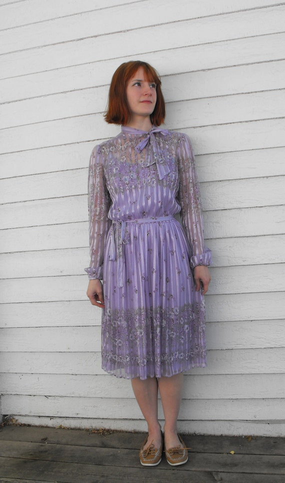 Vintage 70s Dress Floral Sheer Print Lavender Purple Secretary