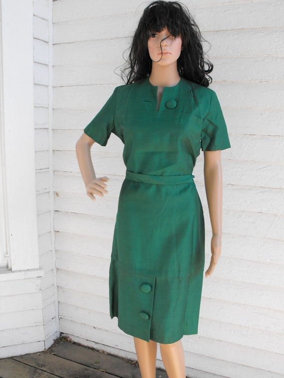 Vintage 60s Green Dress Belted Rayon L