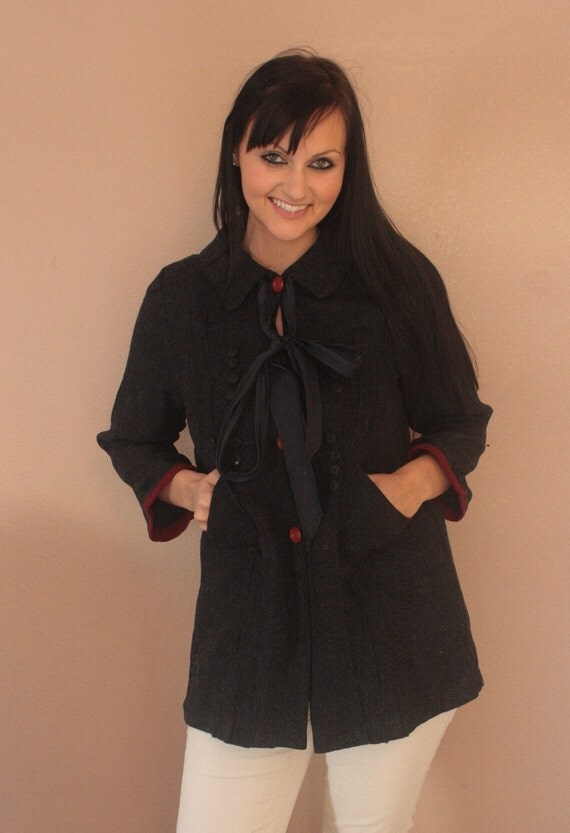 Vintage 30s 40s Short Coat Jacket Blue Wool