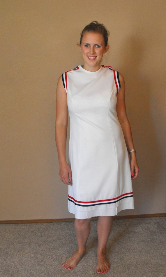 Vintage 60s Dress White Blue Red Sleeveless Mod Casual Athletic S M