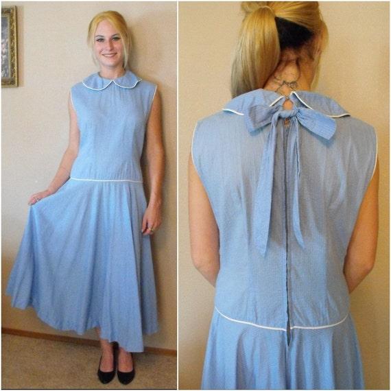 50s Blue Dress Full Skirt Low Waist Bow Back Vintage Rockabilly M