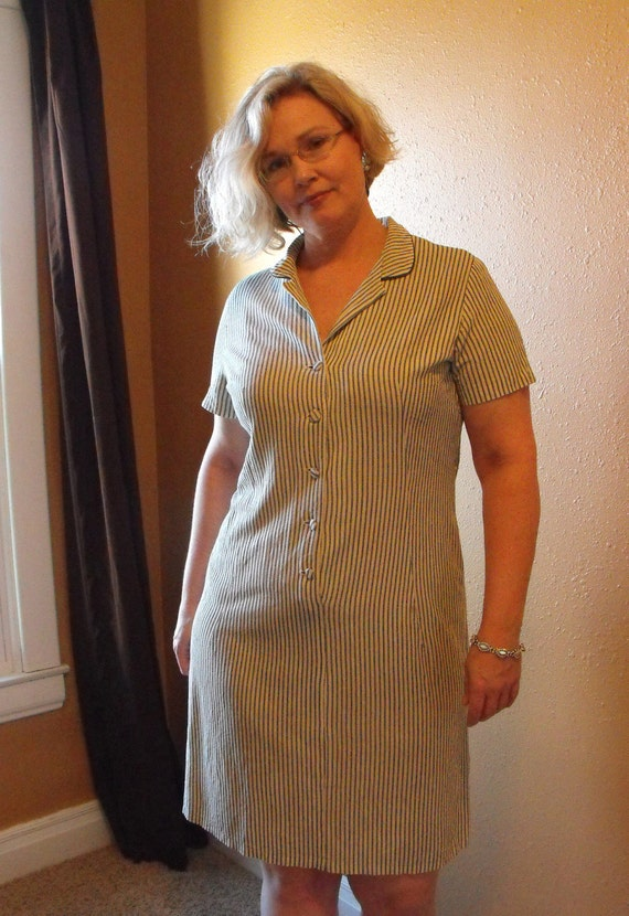 1950s Striped Dress Vintage Casual Short Sleeve XL Plus 44 Bust AS IS