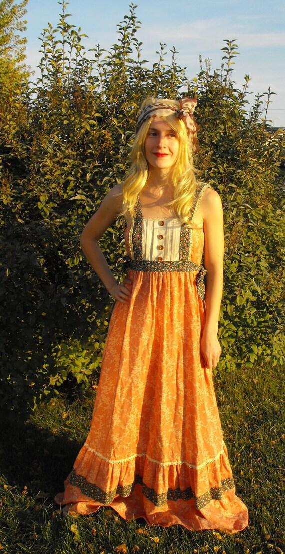 Vintage Gunne Sax Dress Summer Sun Floral Print Prairie