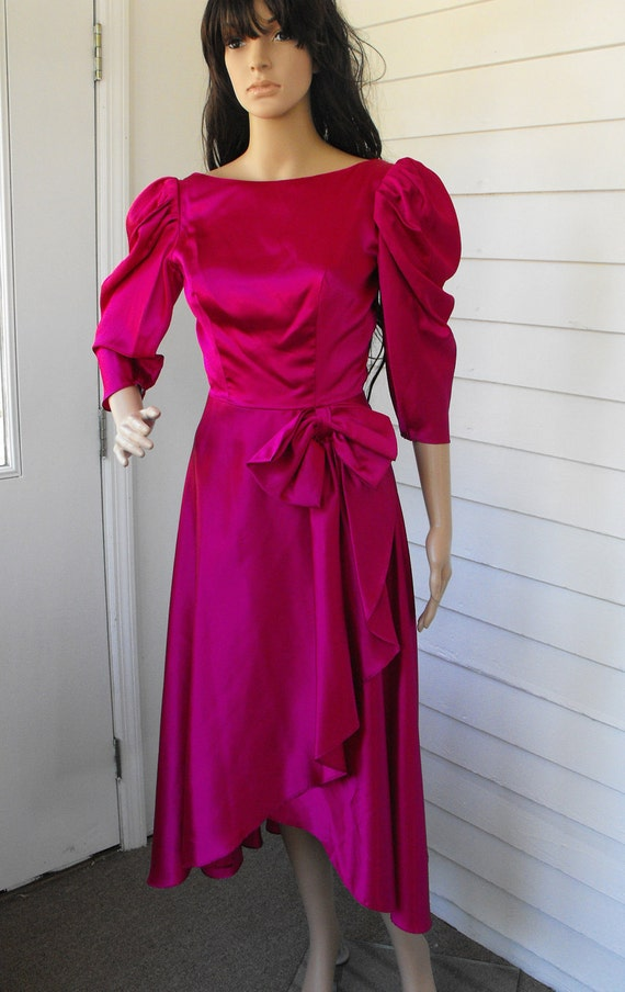 vintage 80s prom gown dress formal satin xs