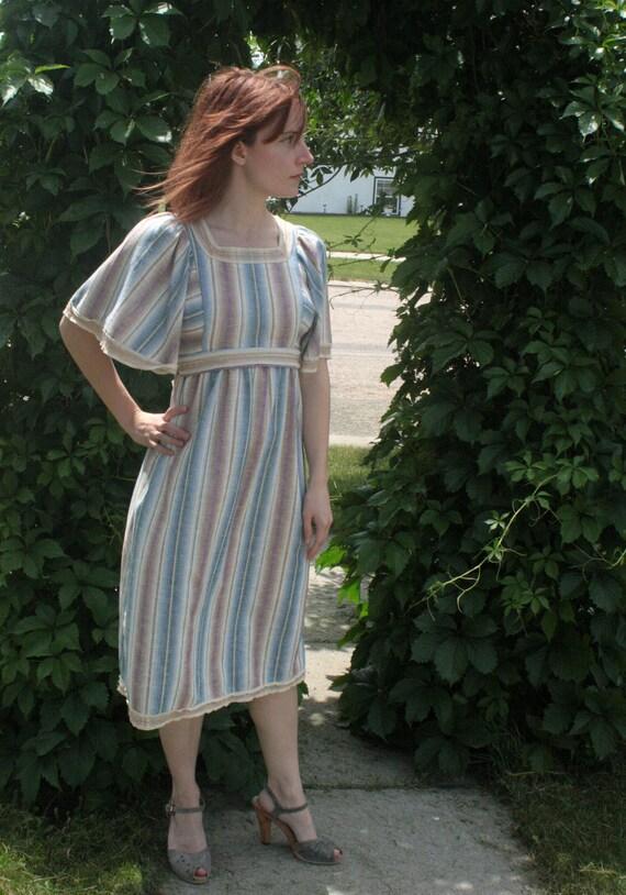 Vintage 70s Hippie Dress Stripe Boho Peasant XXS Summer Spring