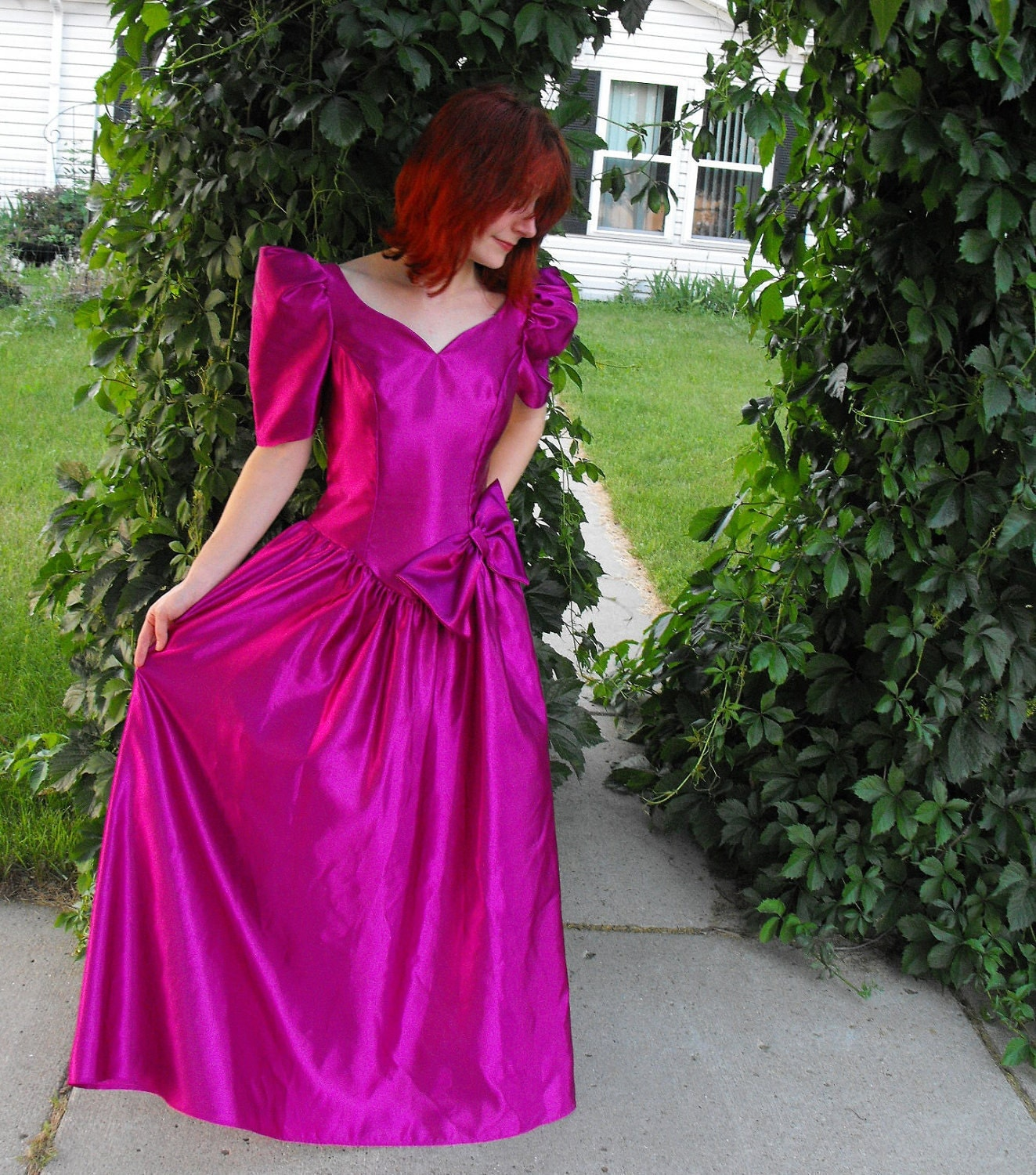 Vintage 80s Prom Dress Gown Magenta Pink Romantic Poof XS