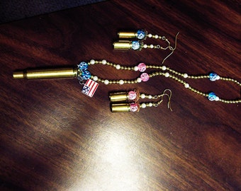 Necklace HXP 77 Shell casings, 2 sets of earrings,made of brass 9MM shell Casings,beads,flag,fish showning faith