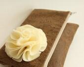 Envelope Clutch : Faux Leather Foldover Clutch, Flower Clutch