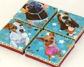 Whimsical Dog Coasters Upcycled and Decoupaged Set of 4