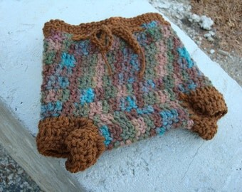 Thick, Hand Dyed Wool Shortie Soaker - Diaper Cover with Cotton Trim - Boys Small - Canyon 384