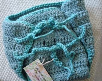 Thick Wool Custom Wrap Soakers Diaper Cover - Medium - Sea Mist 182