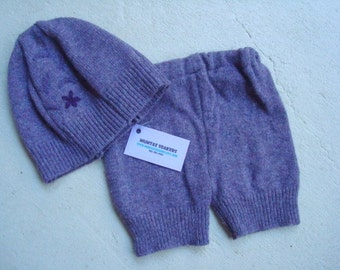 Bloomer and Hat Set - Toddler Girls - Repurposed Soft Lambs Wool Outfit - Rosanna 591
