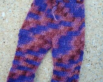 Hand Painted Merino Wool Crocheted Baby Girls Longie Soakers - Romance 677