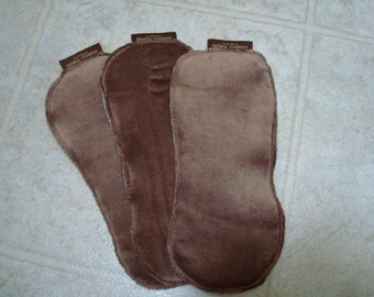 Super Absorbent Bamboo Velour, Organic Cotton Diaper Doublers - Set of Three - Mocha 2704
