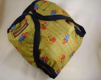 SALE Seconds - Boys Waterproof Wipe Clean Wrap Diaper Cover - Tractors 1095