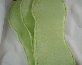 Super Absorbent Bamboo Velour, Organic Cotton Diaper Doublers - Set of Three - Celery 1026
