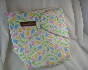 Girls Waterproof Stay Dry Lined Wrap Pocket Diaper Cover - Tulip Fields 1073