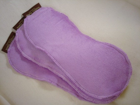 Super Absorbent Bamboo Velour, Organic Cotton Diaper Doublers - Set of Three - Violet 2698