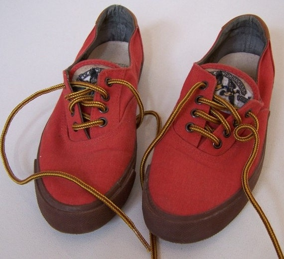 Vintage Polo Ralph Lauren Red Canvas Tennis Shoes.  Leather Backing.  Lace up.  Size 7