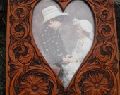 Hand Tooled Leather Western Heart Picture Frame