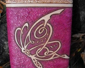 Hand Tooled Leather Celtic Butterfly Flask