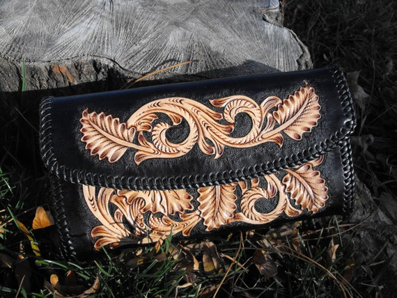Hand Tooled Leather Sheridan Clutch Purse