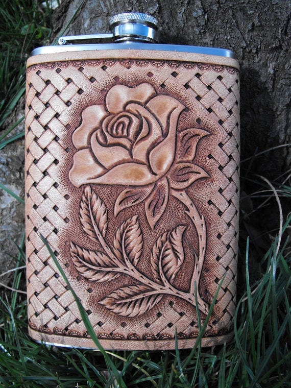 Hand Tooled Leather Rose Flask