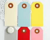 24 small MANILA TAGS - choose from 6 colors