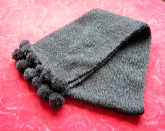 A scarf with Tassel Handknitted Wool Scarf Winter Scarf Wark Scarf Dark Gray handknit Scarf