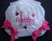 Personalized Hot Pink Lady Bug and Flowers   Diaper Cover